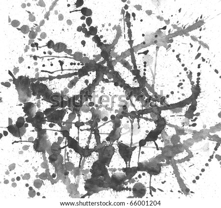 spots of black watercolor on an isolated white background - stock photo