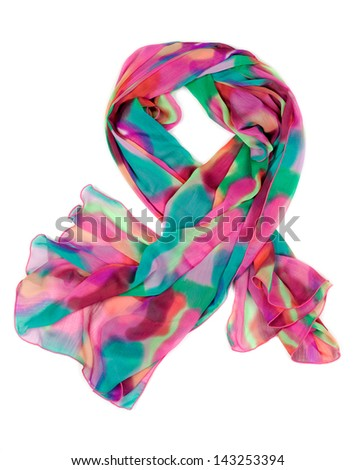 Spotted chiffon scarf isolated on white background - stock photo