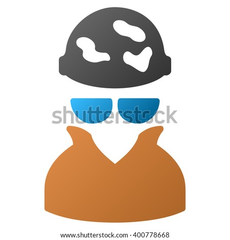 Spotted Spy glyph toolbar icon for software design. Style is a gradient icon symbol on a white background. - stock photo