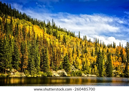 Sprague Lake at Rocky Mountain National Park Colorado - stock photo