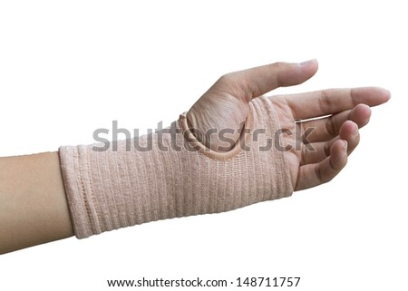 sprained wrist wrapped in a elastic cloth for support