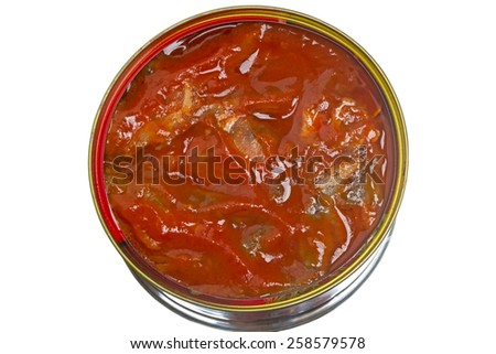 Sprat in tomato sauce in a tin isolated on white background - stock photo