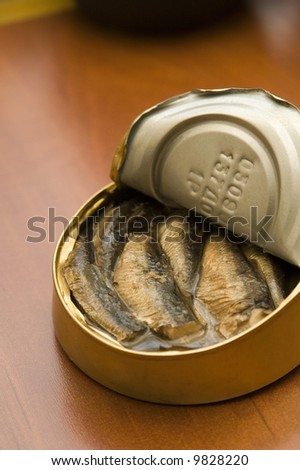 Sprats on a yellow background