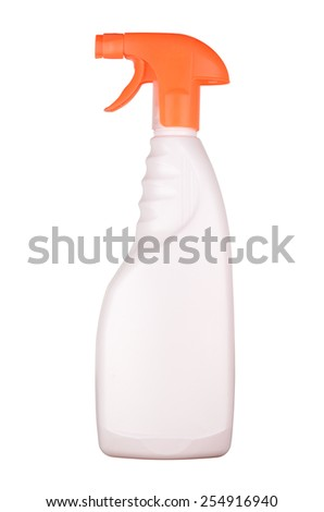 Spray bottle with blank label isolated white background - stock photo