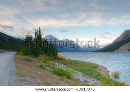 Spray Lakes at sunrise, Kananaskis country Alberta Canada - stock photo