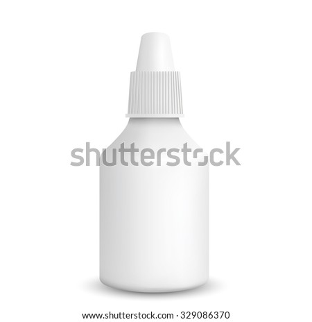 Spray Medical Nasal Antiseptic Drugs Plastic Bottle White - stock photo