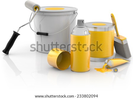 spray paint, paint cans and painting tools - stock photo