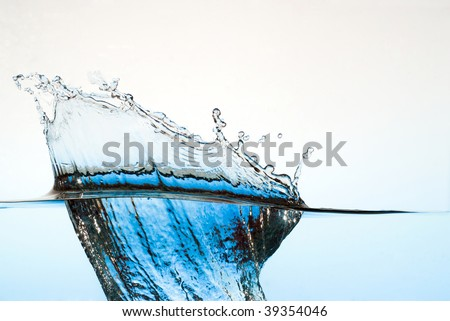 spray water on a blue background