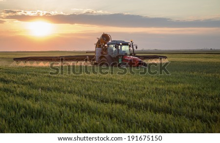 Spraying field of green crops at sunset - stock photo