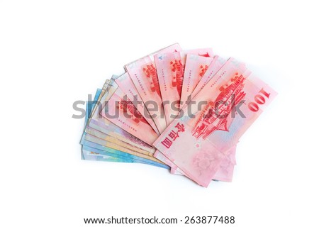 Spread of 1000, 500 and 100 New Taiwan Dollars bill isolated on white background