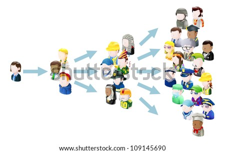 Spread of ideas concept illustration. Could be related to social media or viral marketing or viral ideas - stock photo