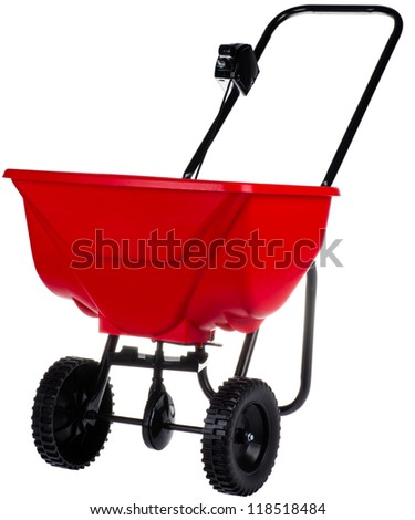 spreader for fertilizer, seed and road salt - stock photo