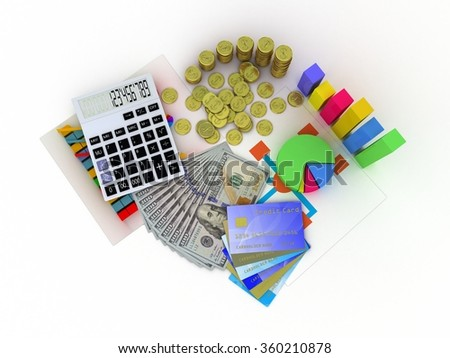 Spreadsheet and a paper with statistic charts, surrounded by some 3d charts - stock photo