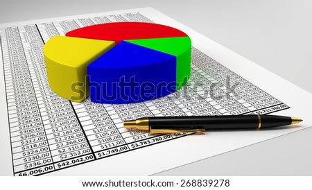 Spreadsheet with pie chart and pen  - stock photo