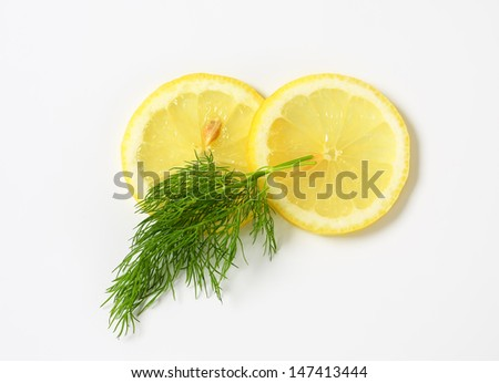 sprig of dill with two lemon slices - stock photo