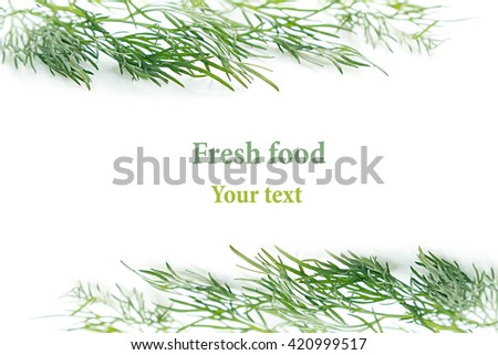 Sprigs of green dill on a white background. Frame with copy space for text. Isolated, studio, close-up