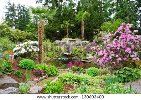 Spring American Northwest home landscape garden in bloom.