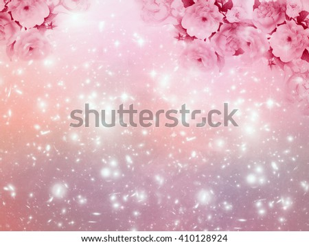 spring and summer magic pink background with roses and stars - stock photo