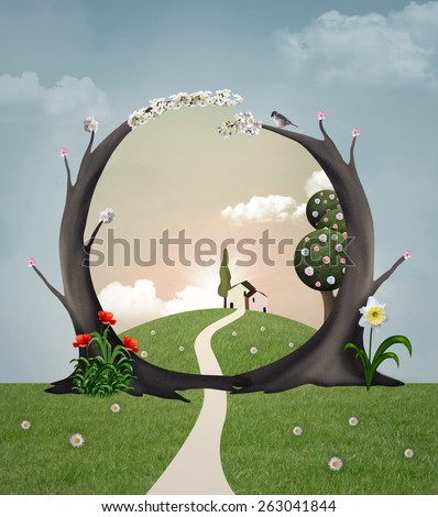 Spring arc and spring landscape - stock photo