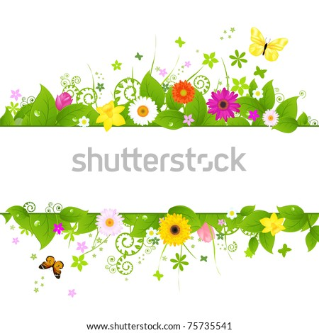 Spring Background, Isolated On White Background