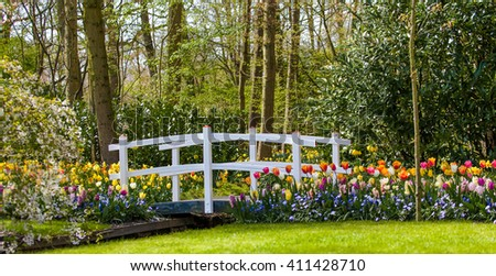 Spring background.  landscaped garden
