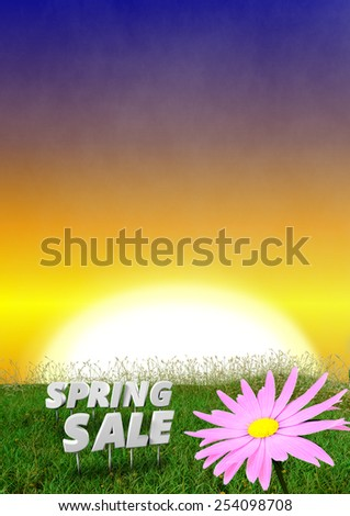 Spring background with early evening sky - 3D render - stock photo