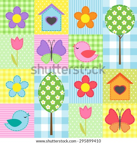 Spring background with flowers, trees, and butterflies. Raster version