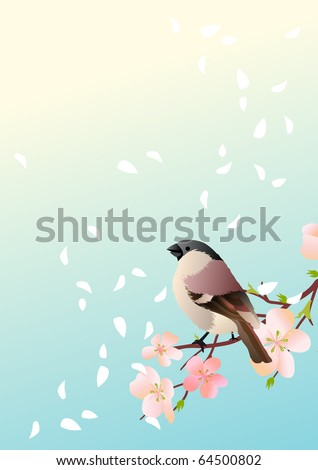 Spring  background with sparrow at branch. Raster version. Vector version is in my gallery. - stock photo