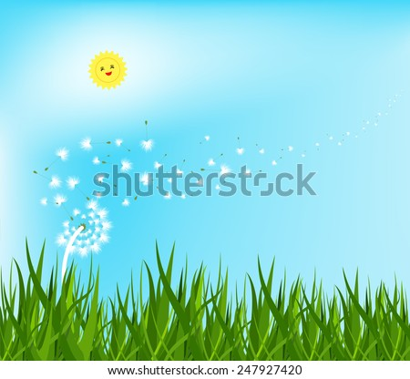 spring background with white dandelions - stock photo