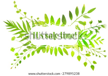 Spring banner with watercolor bright green leaves and text it's sale time. nature illustration. - stock photo