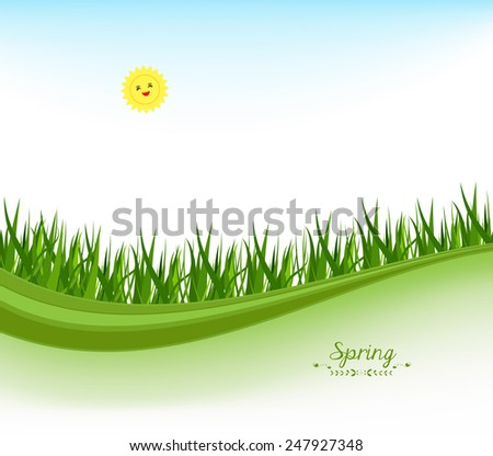 spring banners with grass and blue sky - stock photo