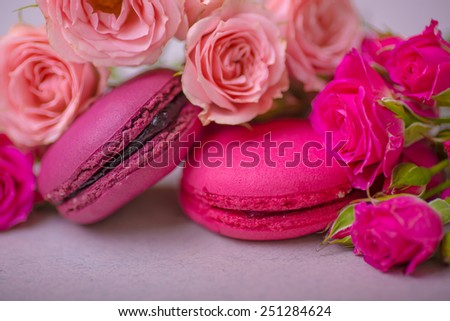 spring berry pink pastel color macaroons with roses background for valentines mother woman day easter with love - stock photo