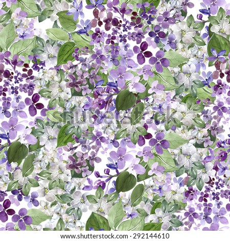 Spring blooming lilac branch  and apple blossom seamless pattern