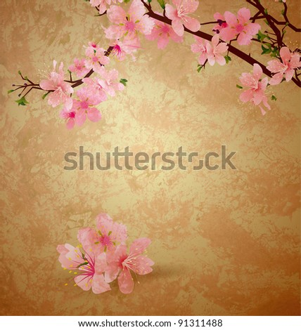 spring blossom cherry tree and pink flowers on brown old paper grunge background - stock photo