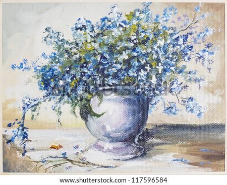 "Spring blue flowers "" forget me not""  ((Myosotis))  bouquet in ceramic  vase still life oil art handmade painting - stock photo"