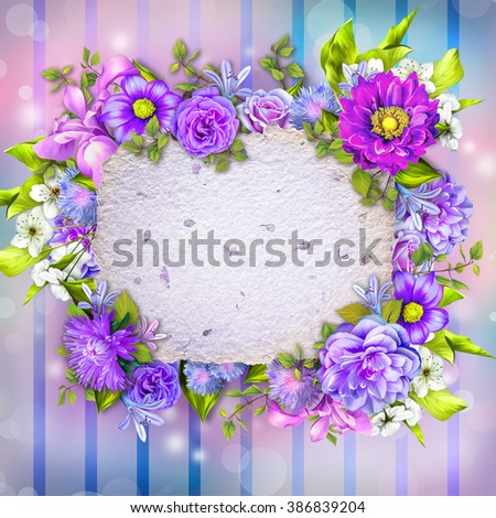 Spring border background with colorful bloom: blue, Pink and purple flowers with copy space as an old paper, wedding anniversary card - stock photo