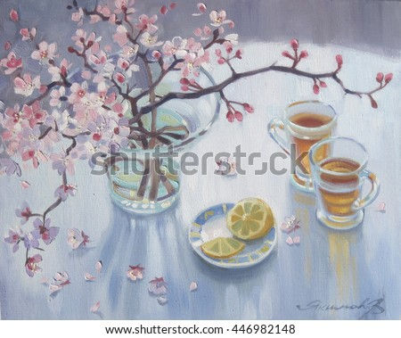 Spring bouquet of blooming apricot, top view. Pink Blooming twig in vase on white.  Bouquet  sprigs with  inflorescence of garden fruit tree in glass vase. Two cups of tea with lemon - stock photo