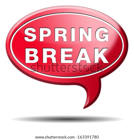 spring break holiday or school vacation icon or button