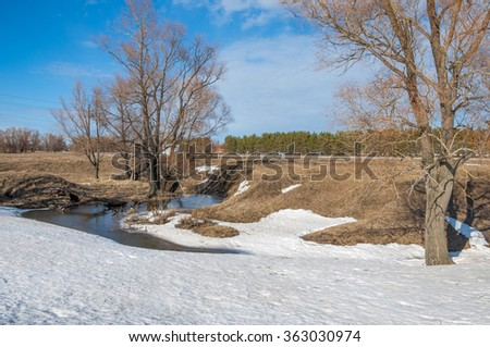 spring Brook.   texture of melt water in the spring brooks on a sunny day.  river creek stream. Spring melting of ice on the river.  - stock photo