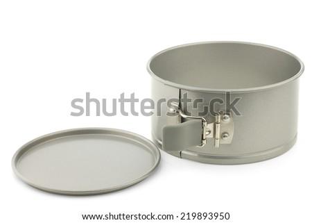 spring cake tin on a white background - stock photo