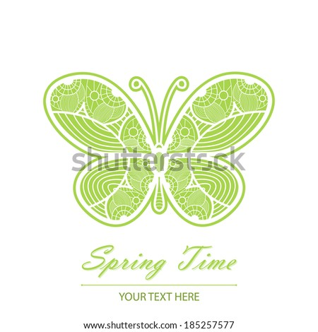 Spring card with an unusual white lace butterfly