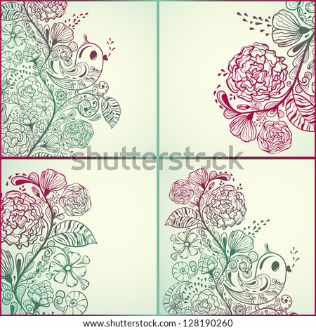spring cards with floral pattern and birds - stock photo