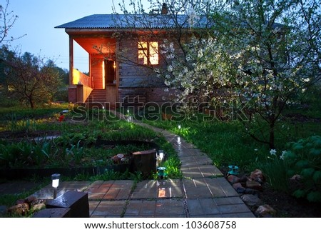 spring cherry house - stock photo