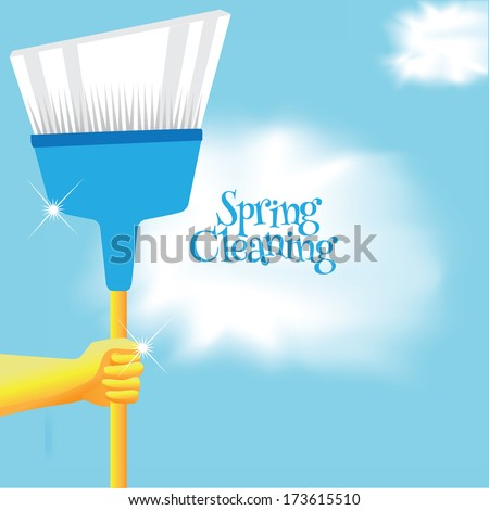 Spring cleaning broom background. - stock photo