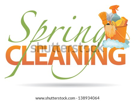 Spring cleaning design element. EPS 10 vector, grouped for easy editing. No open shapes or paths. - stock photo