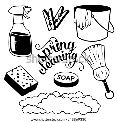 Spring Cleaning items royalty free stock illustration - stock photo
