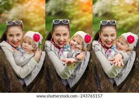 Spring collage Portraits  lovely mother and child together outdoors in sunny warm day