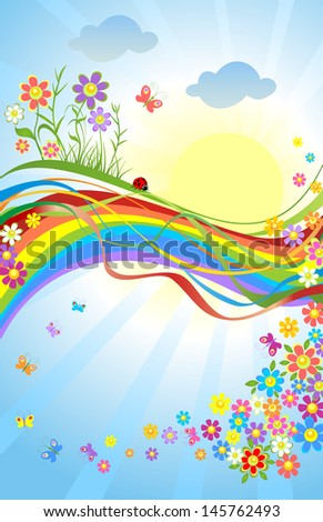 Spring colorful banner. Raster copy of vector image