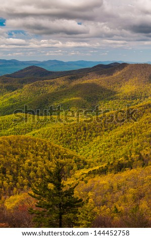 Spring colors in the Appalachian Mountains, seen from Blackrock Summit in Shenandoah National Park, Virginia. - stock photo
