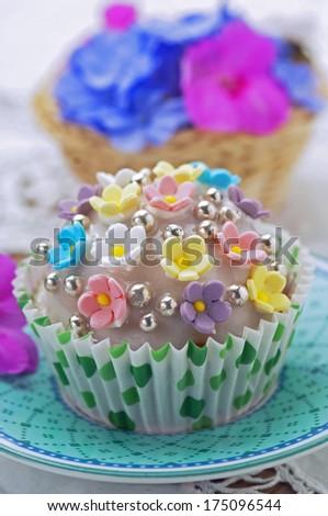 Spring cupcake  - stock photo